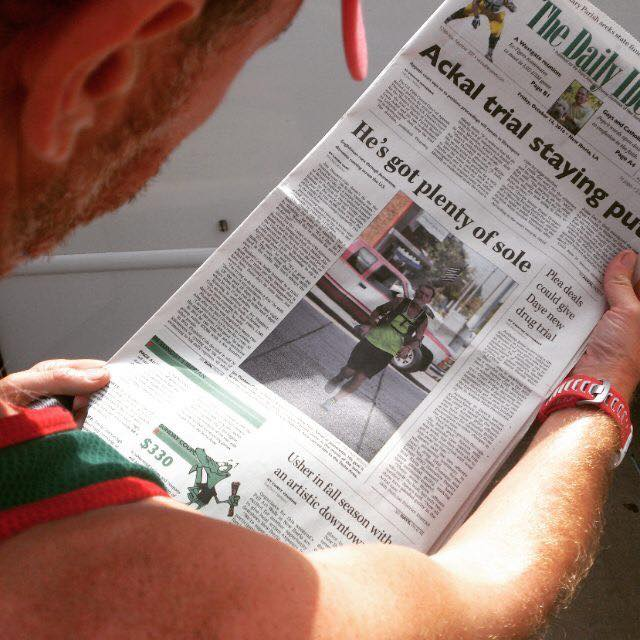 Jim Gump on the front page of an American newspaper
